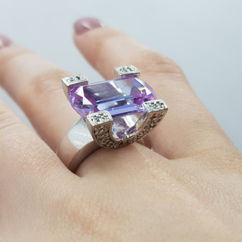 *New* Sterling Silver Lavender CZ Dress Ring Size L #54782