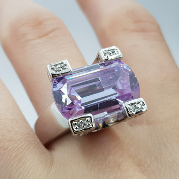 *NEW* STERLING SILVER 925 LAVENDER CZ RING SIZE P #54785