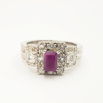 *New* Sterling Silver 925 Natural Ruby & CZ Ring Size R #54791