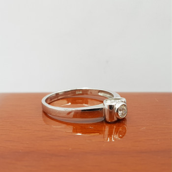 *New* Sterling Silver 925 CZ Solitaire Ring Size P #54793