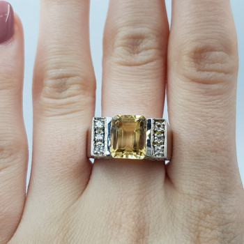 Sterling Silver Citrine & CZ Ring Size S #54723