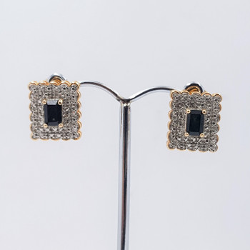 *New* Sterling Silver Yellow Gold Plated Sapphire Stud Earrings #54714