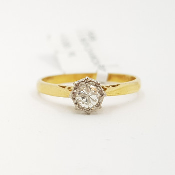 Vintage 18ct Yellow Gold Diamond Solitaire Ring Size K 1/2 #9549