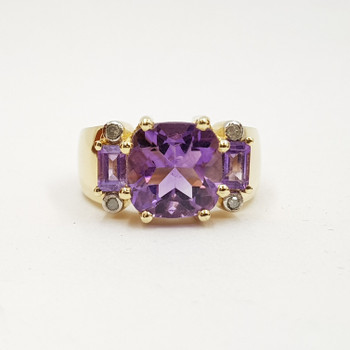 *New* Sterling Silver Yellow Gold Plated Amethyst & Diamond Ring Size N #54663
