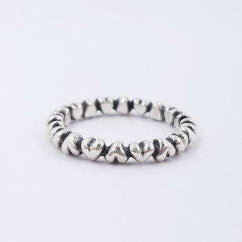 Pandora Silver Chain of Hearts Stackable Ring #54596