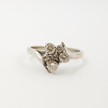 18ct White Gold 0.42ct Diamond Cluster Ring Val $3150 SIZE N 1/4 #52985