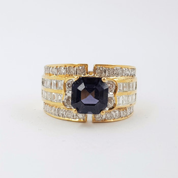 18ct Yellow Gold 2.4ct Spinel & 1.62ct TDW Diamond Ring Val $8260 Size N 1/2 #53444