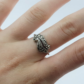 Sterling Silver Vintage Style Marcasite Ring Size K #19766