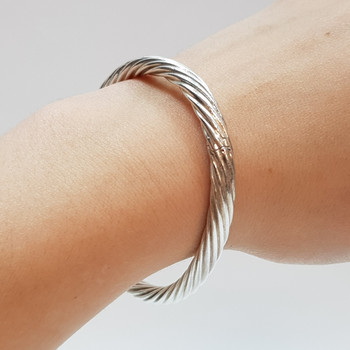 Sterling Silver Hollow Rope Bangle #47463