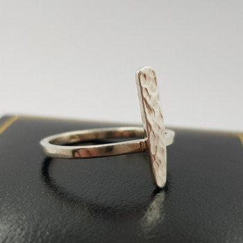 Silver Silver Hammered Rectangle Ring Size J #47854
