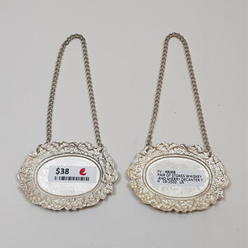 Pair of Stokes Whiskey & Sherry Decanter Tags #48068