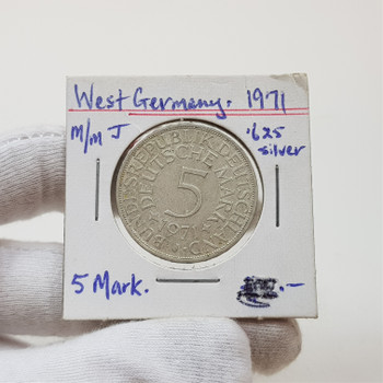 1971 West Germany 5 Mark 0.625 Silver Coin #43844-24