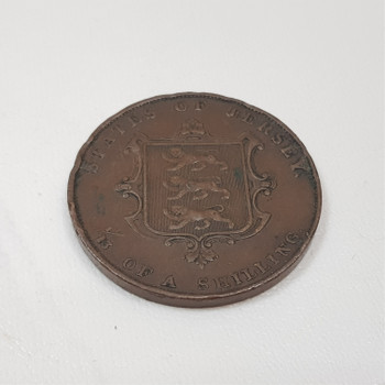1844 1/13th of A Shilling States of Jersey Victoria Copper Coin #43884-2