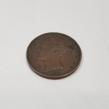 1857 Queen Victoria Young Head One Farthing UK GB Coin (VF) #43884-19