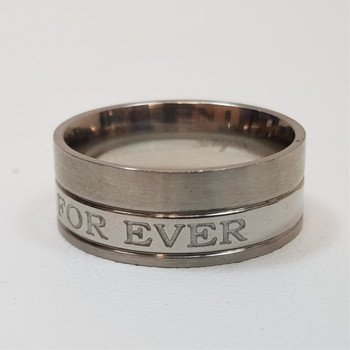 """Men's Stainless Steel Ring Band """"With You Forever"""" Size W #54392-10"""