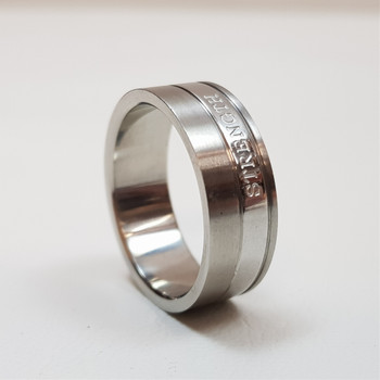 """Men's Stainless Steel Ring Band """"Strength Isaiah 40:31"""" Size W #54392-5"""