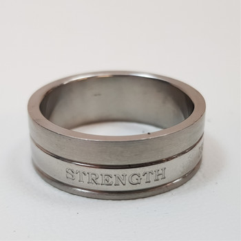 """Men's Stainless Steel Ring Band """"Strength Isaiah 40:31"""" Size T #54392-6"""