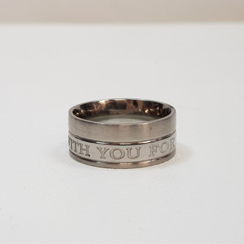 """Men's Stainless Steel Ring Band """"With You Forever"""" Size S #54392-7"""