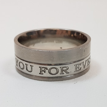 """Men's Stainless Steel Ring Band """"With You Forever"""" Size U #54392-8"""