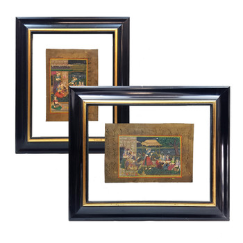 Pair of Framed Persian Miniature Paintings / Scrolls (Early 20th Century) #48381