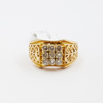 18ct Yellow Gold Heart Scroll 0.63ct Diamond Ring Val $3,675 Size Q #52724