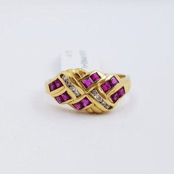18ct Yellow Gold Ruby & Diamond Crossover Ring Val $3700 Size M #52940
