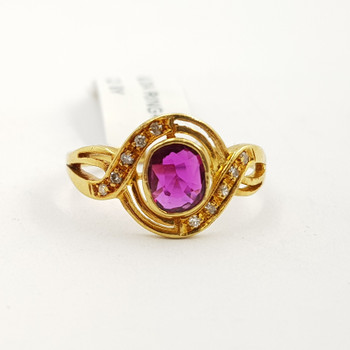 18ct Yellow Gold Oval Ruby & Diamond Ring Val $3150 Size N #53011