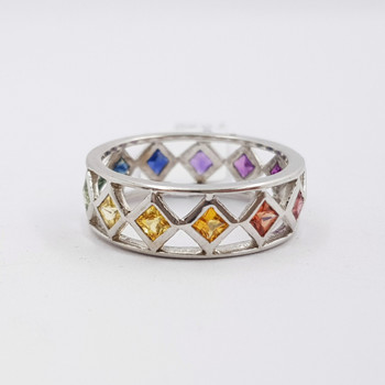14ct White Gold 1.56ct TW Rainbow Sapphire Ring Band Val $2450 #38344