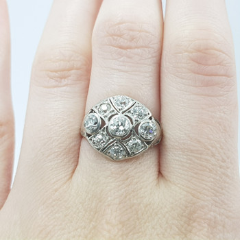 18ct White Gold 1.17ct Euro Cut Diamond Cluster Ring Val $6350 Size N1/2 #55067