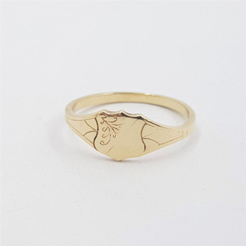 9ct Yellow Gold Shield Signet Ring Size M #53775