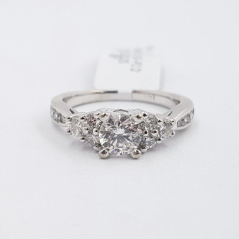 14ct White Gold 0.93ct TW Diamond Engagement Ring Val $5525 Size J #52846