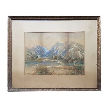 Vintage Watercolour Painting on Paper - Unsigned & Framed #53892
