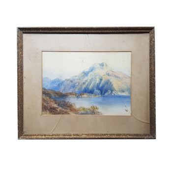 Vintage Watercolour Painting on Paper - Lake & Mountains - Unsigned (A/F) #53893