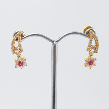 22ct Yellow Gold Red & White CZ Flower Drop Earrings #53702
