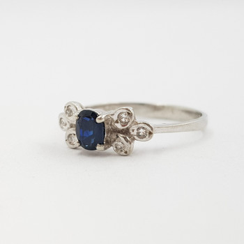 Sterling Silver Natural Sapphire Ring Size L1/2 #4786