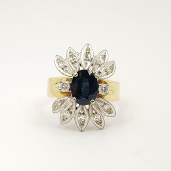 18ct Yellow Gold Sapphire & Diamond Cocktail Ring Size L #54370