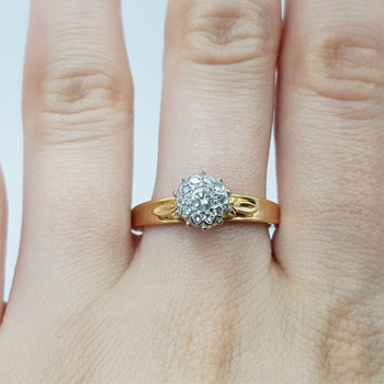 18ct Vintage Yellow Gold Diamond Cluster Ring Size R #54371