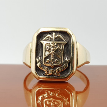 """9ct Yellow Gold Caduceus """"Staff Of Hermes"""" Seal Signet Ring Size Q #55017"""