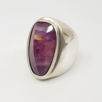 Sterling Silver & Natural Ruby Cocktail Ring Size Q #55038