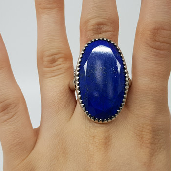 Sterling Silver Large Blue Lapis Lazuli Ring Size R #55040
