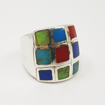 Sterling Silver Chequered Multi-Coloured Stone Ring Size S #55043