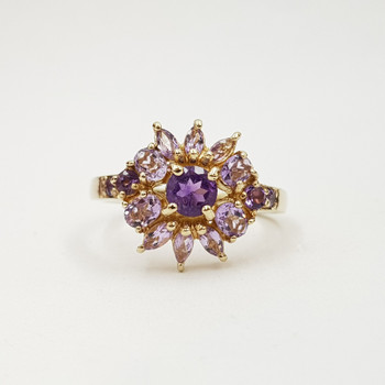 *New* Sterling Silver Yellow Gold Plated Amethyst Halo Ring Size R1/2 #54665