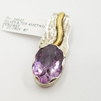 Sterling Silver Natural Amethyst Pendant #54622