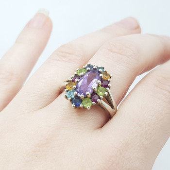 Sterling Silver Multi Coloured Stone Ring Size R #55050