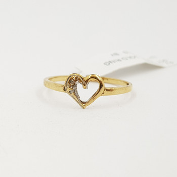 9CT Yellow Gold Open Heart Shaped Ring Size N #54202