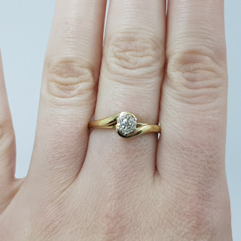9ct Yellow Gold Diamond Cluster Illusion Ring Size O #54299