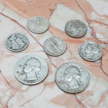 7x USA Quarters & Dimes - 90% Silver Coin Collection (1936 to 1954) #54253