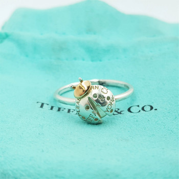 Tiffany & Co Love Bug Silver & 18ct Gold Ring Size P1/2 #54885
