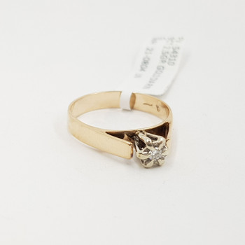 Vintage 9ct Yellow Gold Diamond Solitaire Illusion Ring Size N #54310