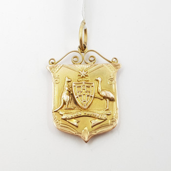 9ct Gold Australiana Coat of Arms Pendant by Wills & Sons C/1908 #54615